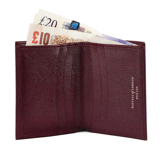 Double Fold Credit Card Case with Notes Pocket in Burgundy Saffiano from Aspinal of London