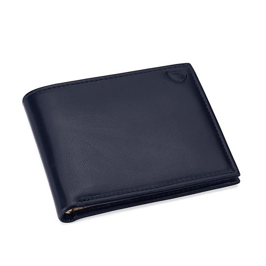 Billfold Coin Wallet in Smooth Navy & Cream Suede from Aspinal of London