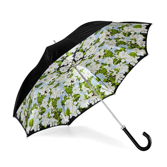 Beautiful Soul Stand Up Umbrella in Misty Blue & White Blossom Print from Aspinal of London
