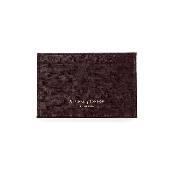 Slim Credit Card Case in Chocolate Brown Saffiano from Aspinal of London