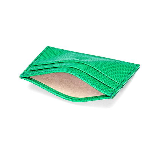 Slim Credit Card Case in Grass Green Lizard & Cream Suede from Aspinal of London