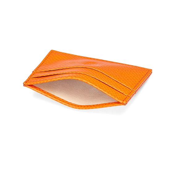 Slim Credit Card Case in Orange Lizard & Cream Suede from Aspinal of London