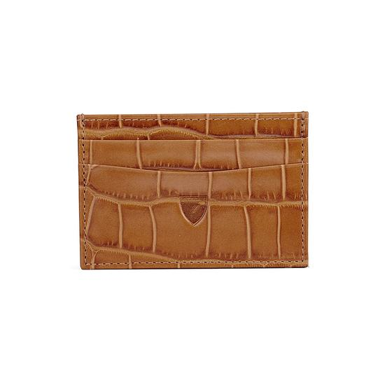 Slim Credit Card Case in Deep Shine Vintage Tan Croc & Cappuccino Suede from Aspinal of London