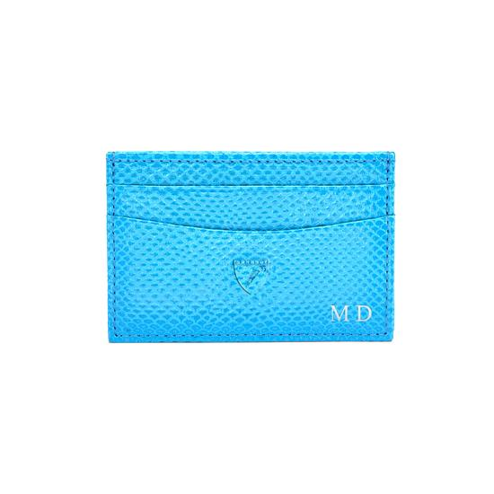 Slim Credit Card Case in Smooth Peppermint & Mint Suede from Aspinal of London