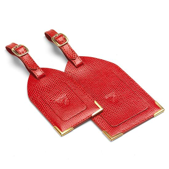 Set of 2 Luggage Tags in Berry Lizard from Aspinal of London