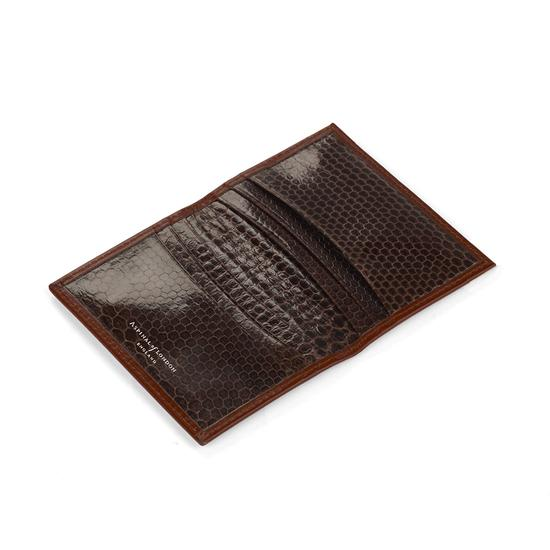 Double Credit Card Case in Cognac with Brown Snake from Aspinal of London