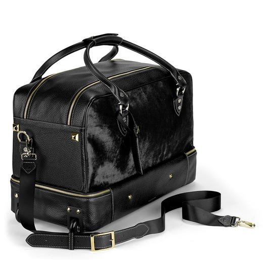 Portofino Rolling Travel Bag in Black Calfskin & Black Haircalf from Aspinal of London