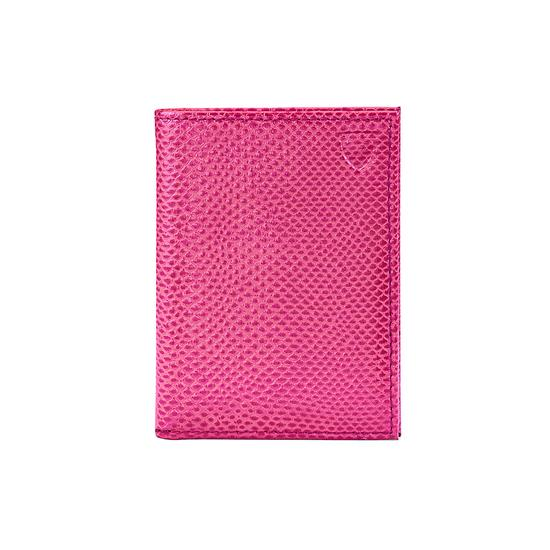 Double Fold Credit Card Case in Raspberry Lizard from Aspinal of London