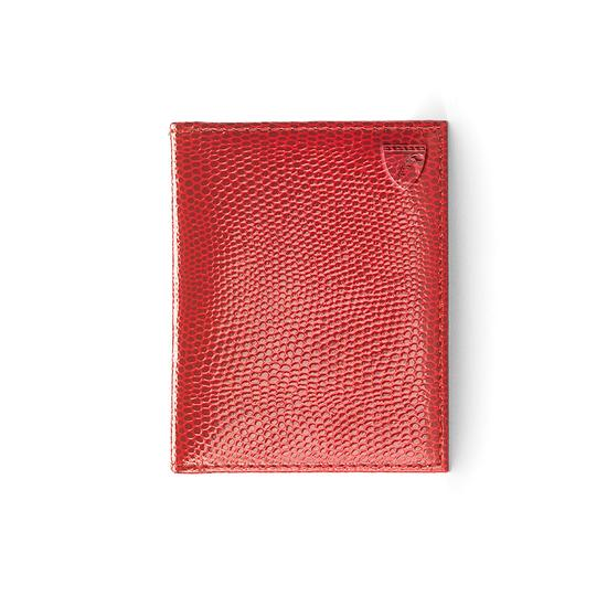 ID & Travel Card Case in Berry Lizard & Cream Suede from Aspinal of London