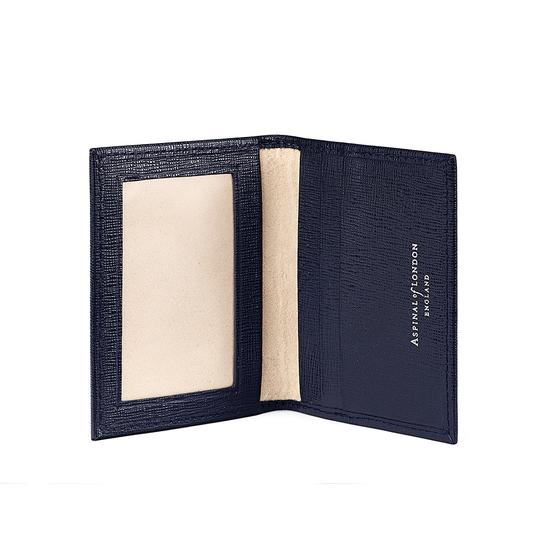 ID & Travel Card Case in Navy Saffiano & Cream Suede from Aspinal of London