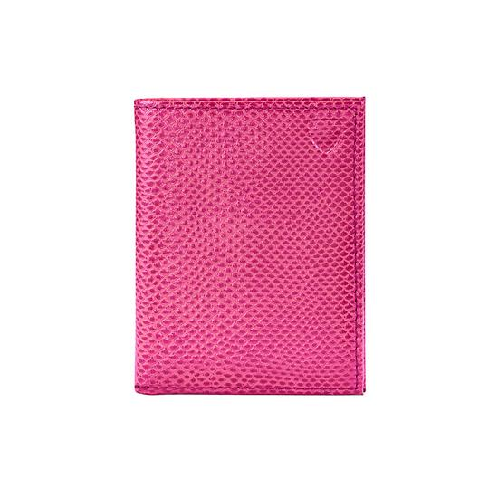 ID & Travel Card Case in Raspberry Lizard & Pale Blue Suede from Aspinal of London