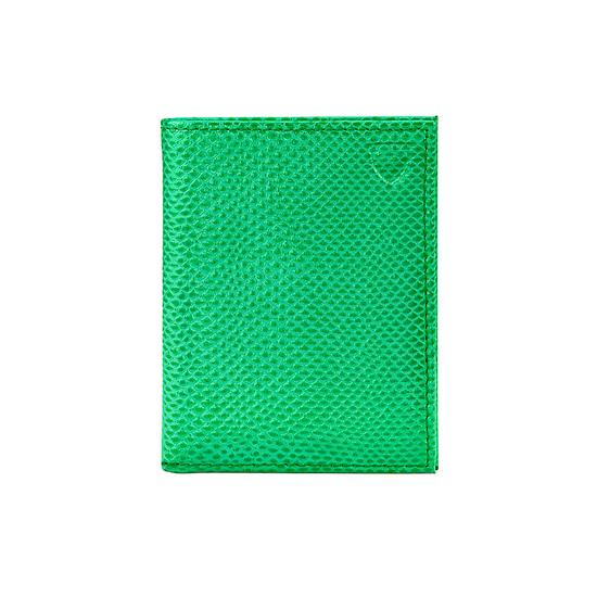 ID & Travel Card Case in Grass Green Lizard & Cream Suede from Aspinal of London