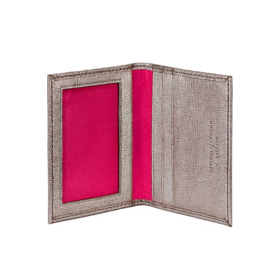 ID & Travel Card Case in Gunmetal Saffiano & Deep Fuchsia Suede from Aspinal of London