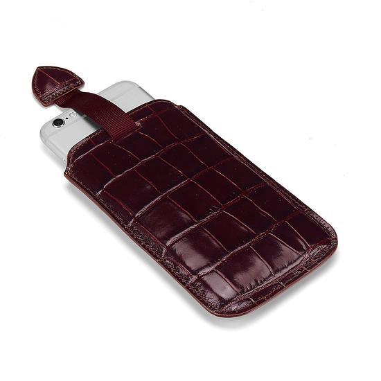 iPhone 6 / 7 Leather Sleeve in Deep Shine Amazon Brown Croc & Stone Suede from Aspinal of London