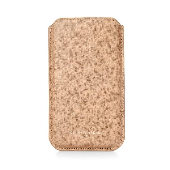 iPhone 6 / 7 Leather Sleeve in Deer Saffiano & Stone Suede from Aspinal of London