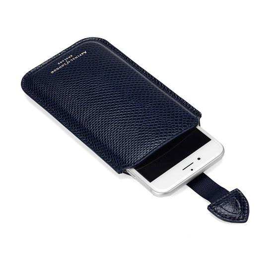 iPhone 6 / 7 Leather Sleeve in Midnight Blue Lizard & Cream Suede from Aspinal of London