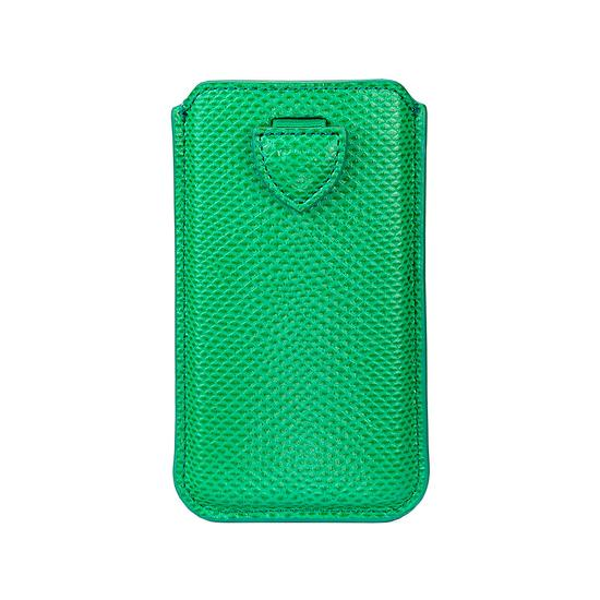 iPhone 6 / 7 Leather Sleeve in Grass Green Lizard & Cream Suede from Aspinal of London