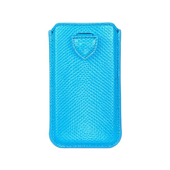 iPhone 6 / 7 Leather Sleeve in Aquamarine Lizard & Silver Suede from Aspinal of London