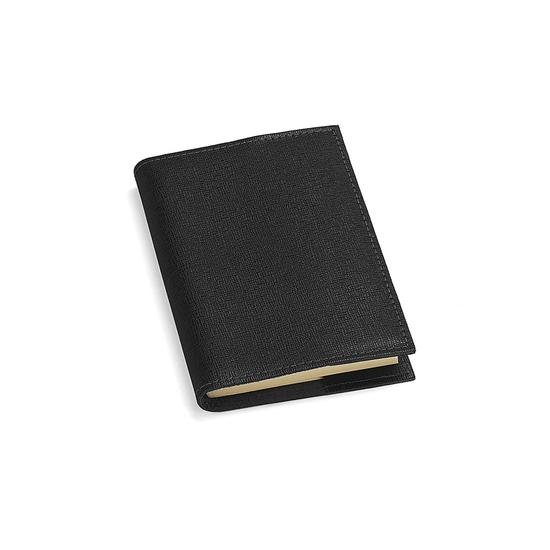 Saffiano Refillable Pocket Notebook in Black Saffiano from Aspinal of London