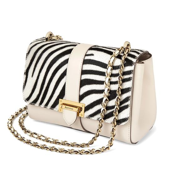 Small Lottie Bag in Smooth Ivory & Zebra Haircalf from Aspinal of London