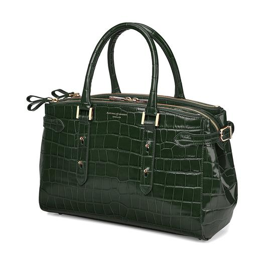 Brook Street Bag in Deep Shine Forest Green Croc from Aspinal of London