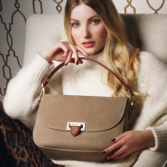 Slouchy Saddle Bagin Bordeaux Pebble from Aspinal of London