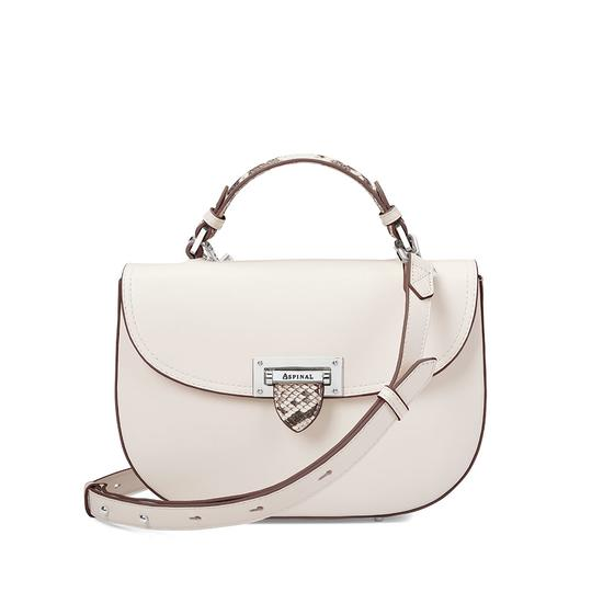 Letterbox Saddle Bag in Smooth Ivory & Natural Python Print from Aspinal of London