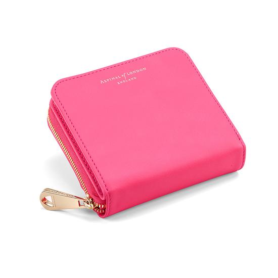 Mini Continental Zipped Coin Purse in Smooth Neon Pink from Aspinal of London
