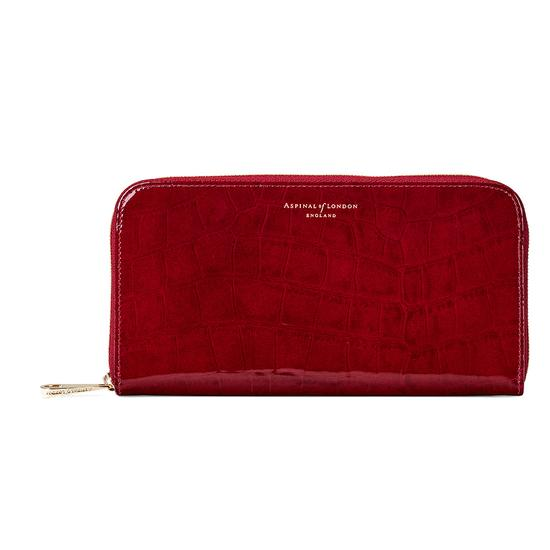 Continental Clutch Zip Wallet in Red Patent Croc from Aspinal of London