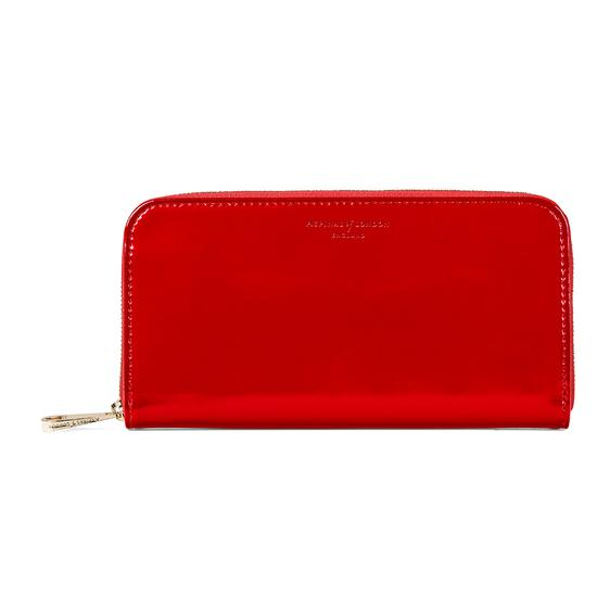 Continental Clutch Zip Wallet in London Red Patent from Aspinal of London