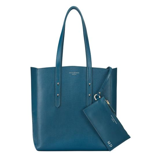 Aspinal Essential Tote in Peacock Kaviar & Silver Suede from Aspinal of London