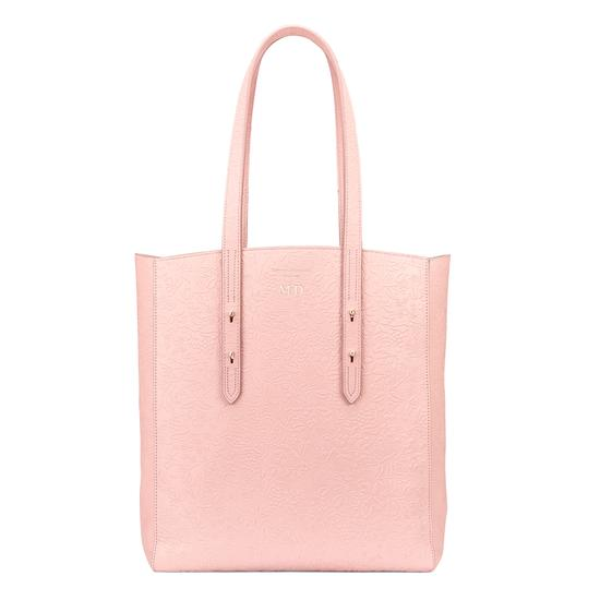 Aspinal Essential Tote in Peach Embossed Flower & Blush Suede from Aspinal of London