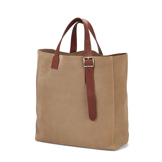 The 'A' Tote in Fog Nubuck & Smooth Tan from Aspinal of London