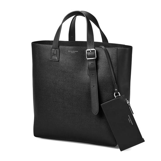The 'A' Tote in Black Saffiano & Black Suede from Aspinal of London