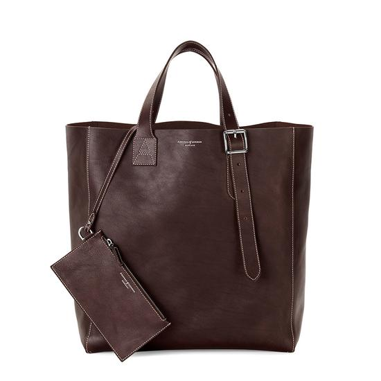 The 'A' Tote in Smooth Brown & Brown Suede from Aspinal of London