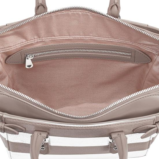 Mini Marylebone Tote in Soft Taupe & Silver Snake Stripe from Aspinal of London