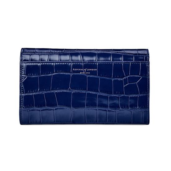 Mayfair Purse in Deep Shine Navy Croc from Aspinal of London