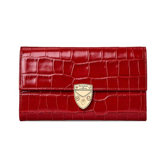 Mayfair Purse in Deep Shine Red Croc from Aspinal of London