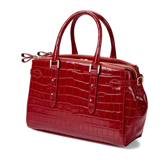 Brook Street Bag in Deep Shine Red Croc from Aspinal of London