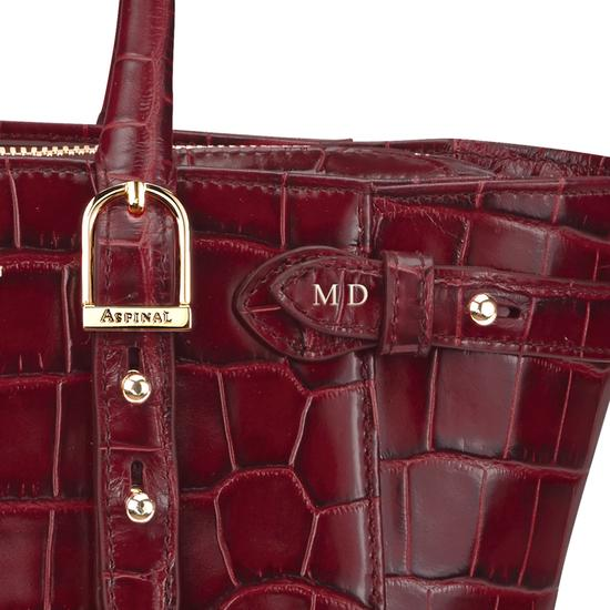 Mini Marylebone Tote in Deep Shine Bordeaux Croc from Aspinal of London