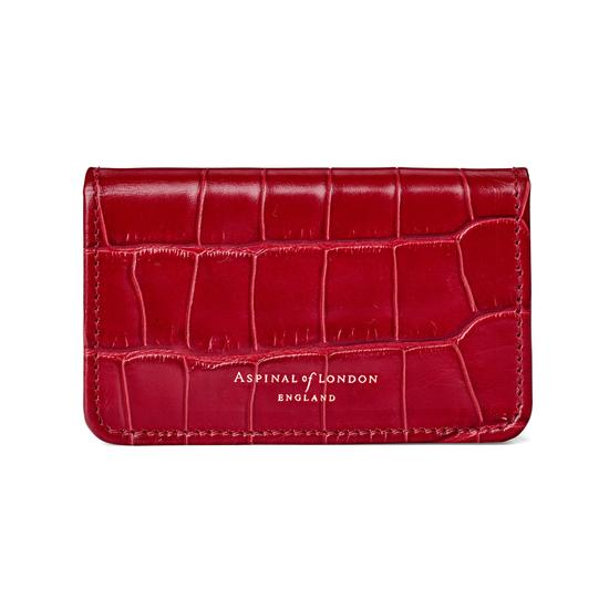 Business & Credit Card Case in Deep Shine Red Croc with Cream Suede from Aspinal of London