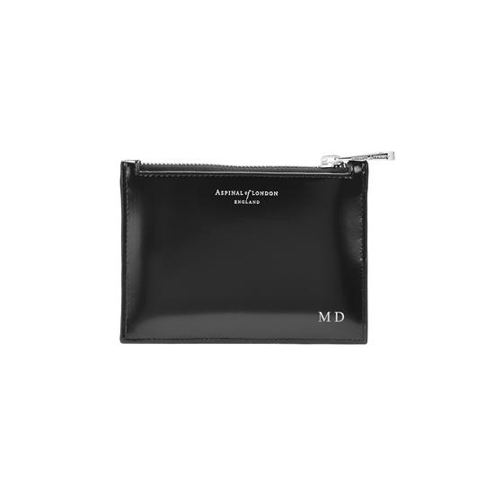 Small Essential Flat Pouch in Silver Saffiano & Black Polish from Aspinal of London