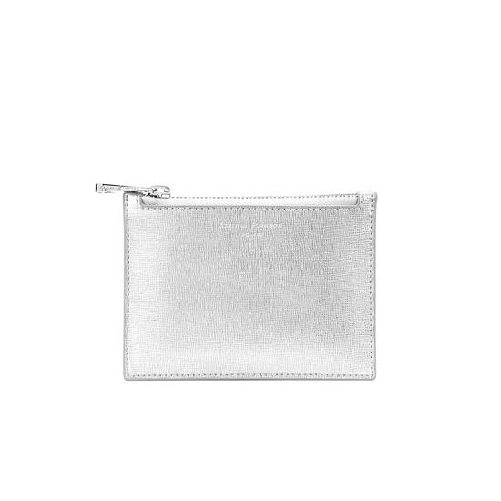 Small Essential Flat Pouch in Silver Saffiano & Smooth White from Aspinal of London