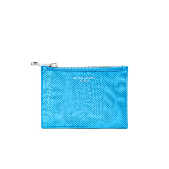 Small Essential Flat Pouch in Aquamarine Lizard from Aspinal of London