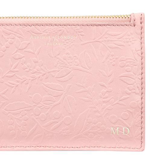 Small Essential Flat Pouch in Peach Embossed Flower & Smooth Peach from Aspinal of London