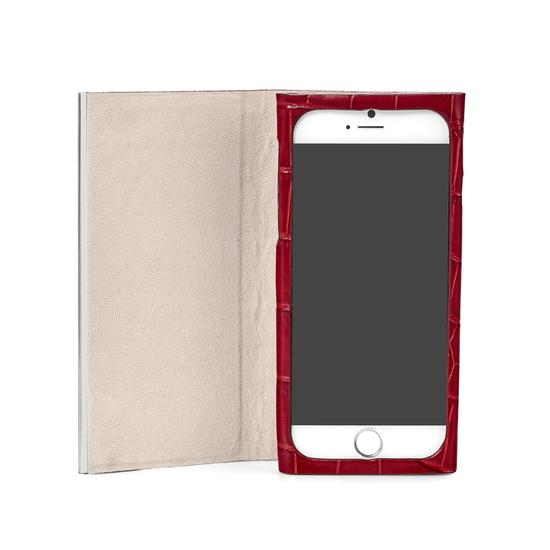 iPhone 7/8 Leather Book Case in Deep Shine Red Croc with Cream Suede from Aspinal of London