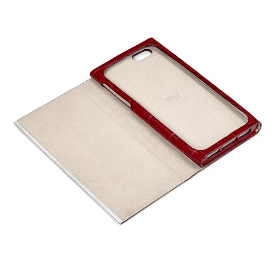 iPhone 7 Leather Book Case in Deep Shine Red Croc with Cream Suede from Aspinal of London