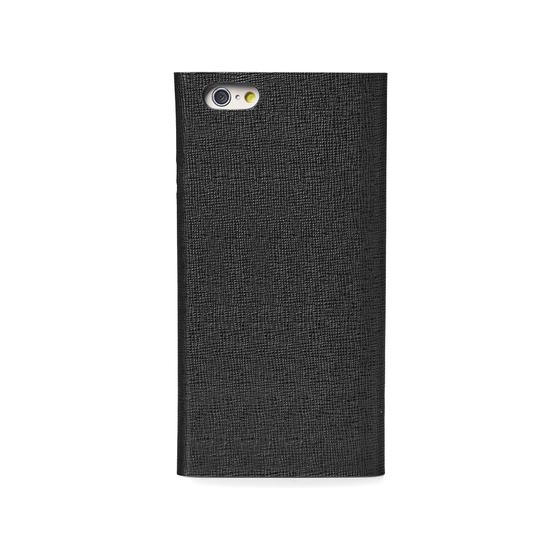 iPhone 7 Leather Book Case in Black Saffiano & Black Suede from Aspinal of London