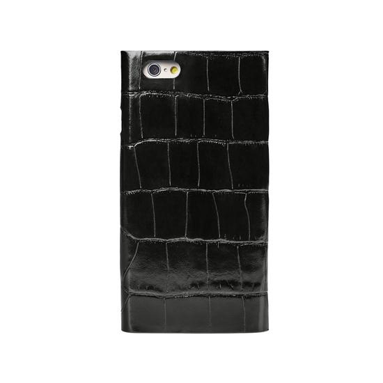 iPhone 7 Leather Book Case in Deep Shine Black Croc & Black Suede from Aspinal of London