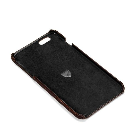 iPhone 7 Plus Leather Cover in Deep Shine Amazon Brown Croc & Black Suede from Aspinal of London